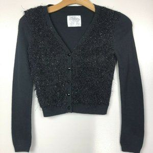 Justice Cardigan Sweater Button Up Fuzzy Texture 8